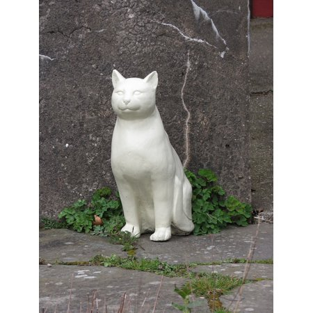 Canvas Print Feline Animal Sculpture Cat Statue Stretched Canvas 10 x covid 19 (Cat Fishing Sculpture coronavirus)