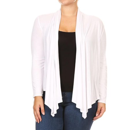 NEW MOA Women's Plus Size Solid Casual Long Sleeve Drape Front Open Jacket Cardigan/Made in (Blue Long Sleeve Jacket)