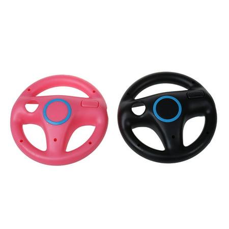 Thzy 2 X Pcs Pink Black Steering Mario Kart Racing Wheel For Nintendo Wii Remote Game