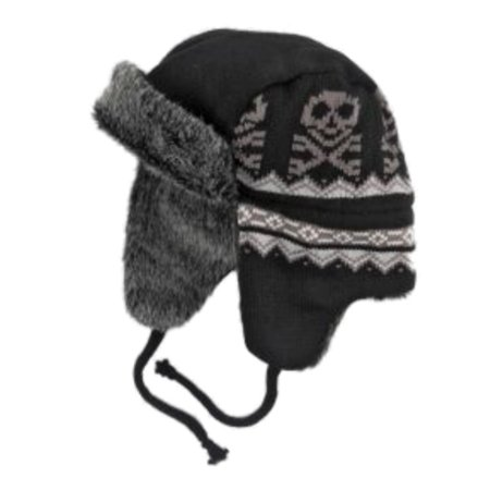 Ben Berger Boys Black Skull Trapper Hat Fur Lined Aviator (Schwarze Aviator Sonnenbrillen Für Männer)