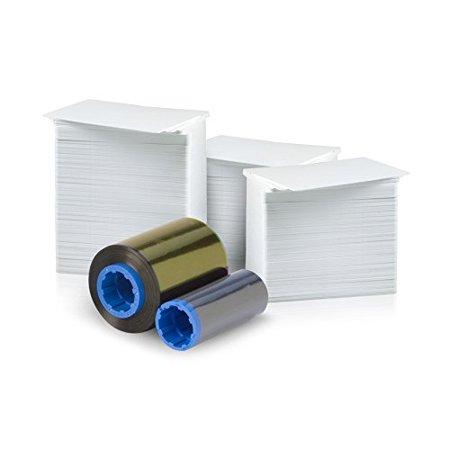 Zebra 200 Print 5 Panel Ymcko Ribbon For C Series  800015 140  And 200 Alphacard Premium Blank Pvc Cards Bundle