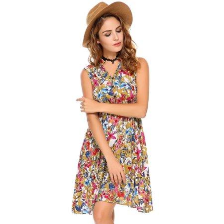 Women Dress Sleeveless Vintage Lace Patchwork O Neck Bohemian Tunic Dress Caroj - image 6 de 8