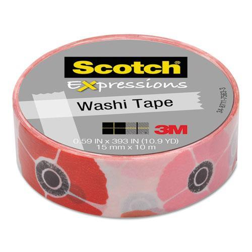 "Scotch Washi Tape .59""X10.9yd-Poppy"
