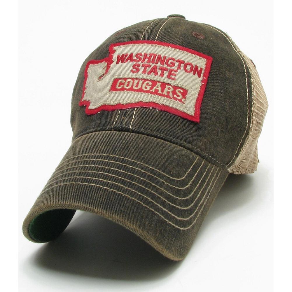 Washington State Cougars Legacy Trucker Hat - Black - State Logo
