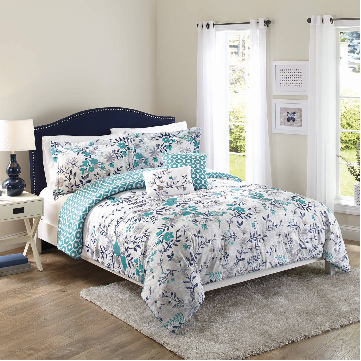 Better Homes and Gardens Teal Flowers, 5-Piece Set - Walmart.com