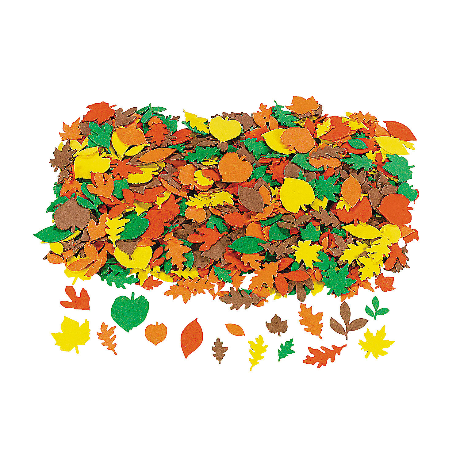 Fun Express - Fabulous Foam Fall Adhesive Leaf Shapes for Fall - Craft Supplies - Foam Shapes - Regular - Fall - 500 Pieces