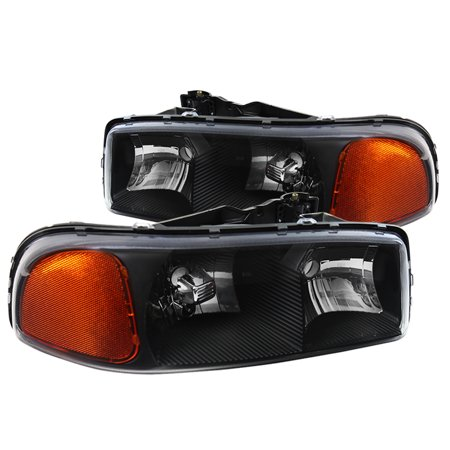 Spec-D Tuning For 2000-2006 Gmc Sierra Yukon Xl Euro Crystal Headlights Head Lamps Black 2000 2001 2002 2003 2004 2005 2006 (Left + Right) 2000 Gmc Safari Headlight