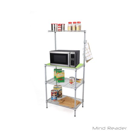 Oven Shelf - Mind Reader 3 Tier Microwave Shelf Counter Unit with Hooks, Silver