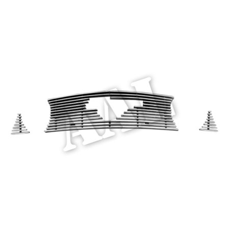 AAL BOLT ON / BOLT OVER BILLET GRILLE / GRILL INSERT For 2010 2011 2012 FORD Mustang GT V8 W/LOGO CUT-OUT 3PCS UPPER BOLTON ()