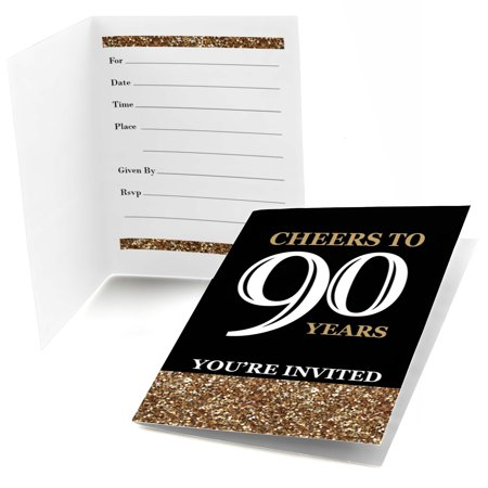 Adult 90th Birthday - Gold - Fill In Birthday Party Invitations (8 count)