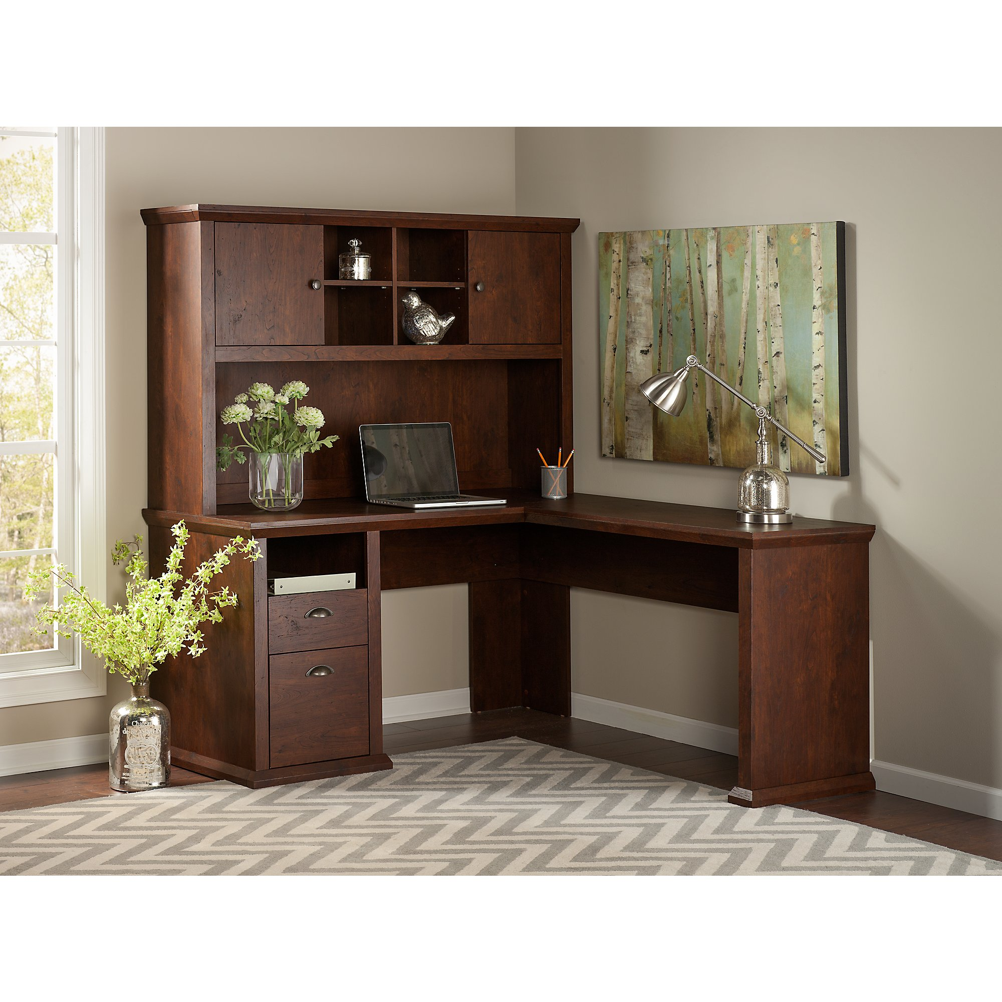 Bush Furniture Yorktown L Shaped Desk with Hutch in Antique Cherry