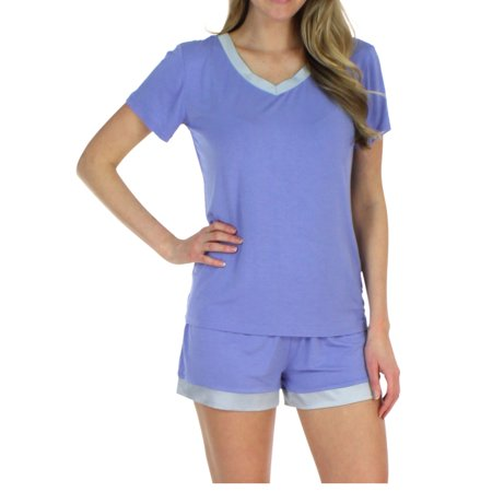 Pajama Heaven Women's Sleepwear Bamboo Jersey V-Neck Top and Shorts Pajama Set With Satin Trim