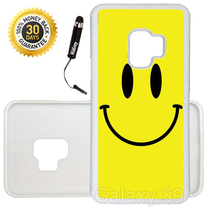 Custom Galaxy S9 Case (Yellow Smiley) Edge-to-Edge Rubber White Cover Ultra Slim | Lightweight | Includes Stylus Pen by Innosub