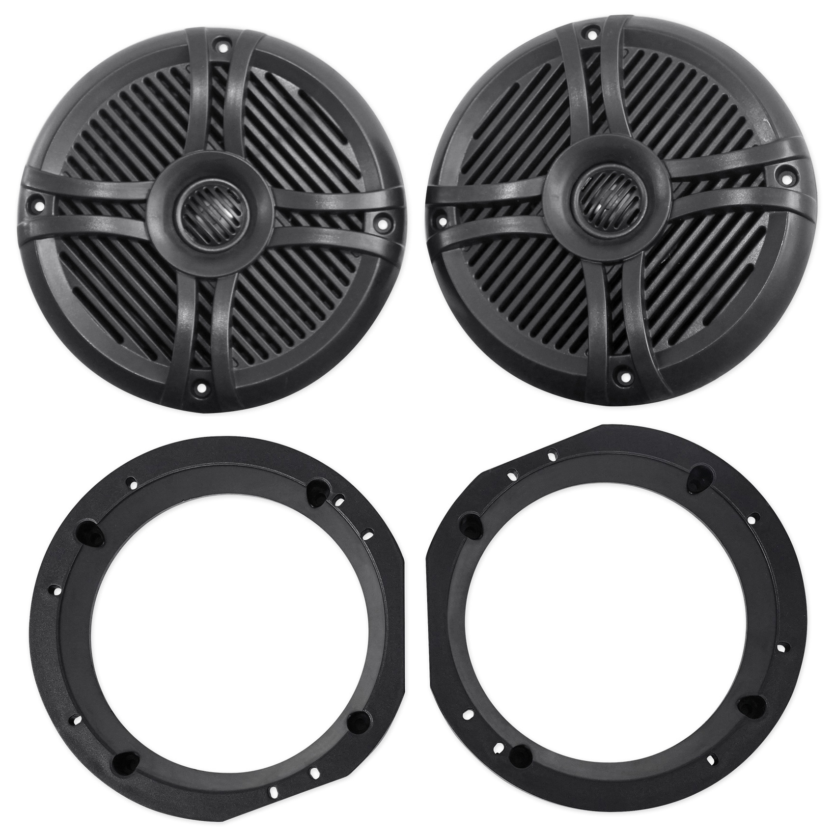 "1998-2013 Harley Davidson Touring 6.5"" 800w Rockville Speakers w/Adapter Plates"