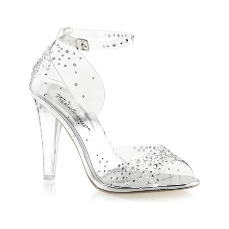 5 1/2 Inch Ankle Strap Platform - womens clear high heel shoes ankle strap sandals rhinestone 4 1/2 inch heels