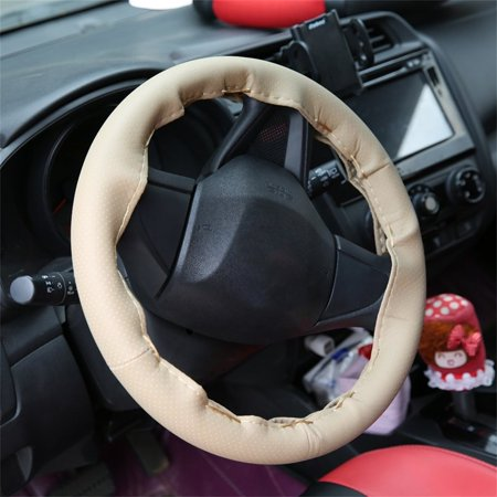 Auto Car Steering Wheel Cover With Needles And Thread Leather Car Covers Suite - image 4 de 5