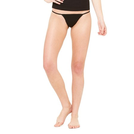 Bella Spandex Thongs (Branded Bella + Canvas Ladies Cotton/Spandex Thong Bikini - BLACK - M (Instant Saving 5% & more on min 2))