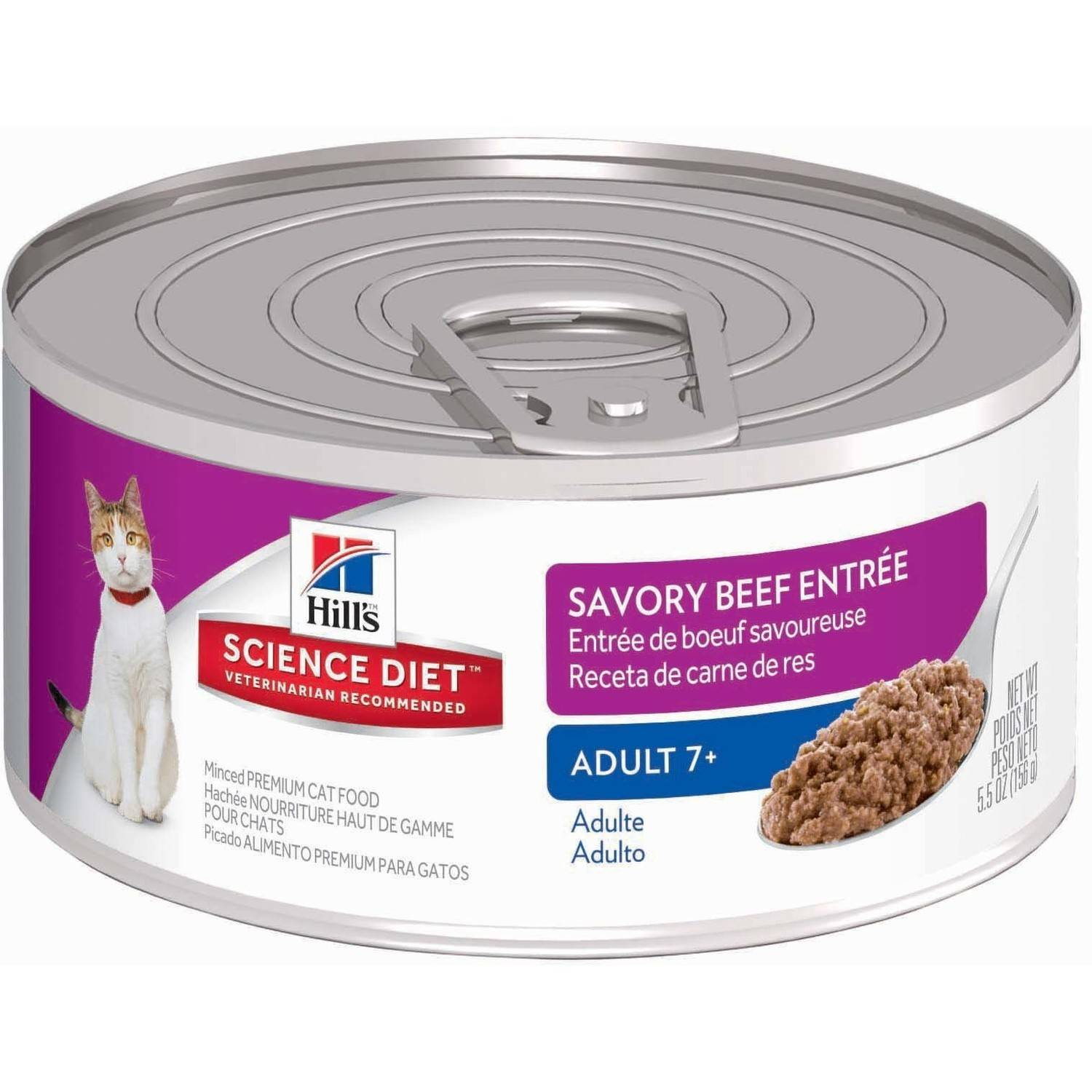 Hill's Science Diet (Get $5 back for every $20 spent) Adult 7+ Savory Beef Entrée Canned Cat Food, 5.5 oz, 24-pack