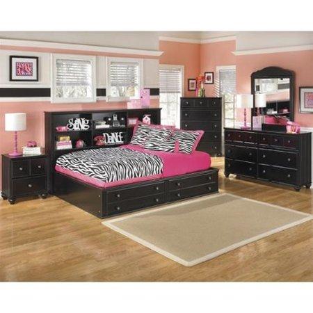 Ashley Jaidyn 5 Piece Wood Full Mates Bedroom Set In Black