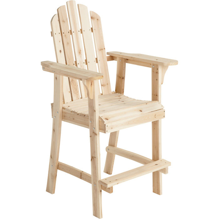Balcony Tall / Counter High Adirondack Chair with Footrest - Natural Wood