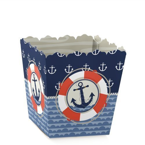 Ahoy - Nautical - Party Mini Favor Boxes - Baby Shower or Birthday Party Treat Candy Boxes - Set of 12