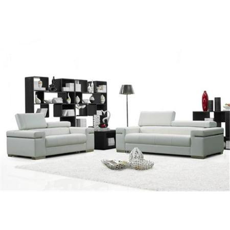 J & M Furniture 17655111-L-W Soho Love in White Leather