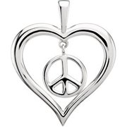FB Jewels 925 Sterling Silver Heart Peace Sign Pendant