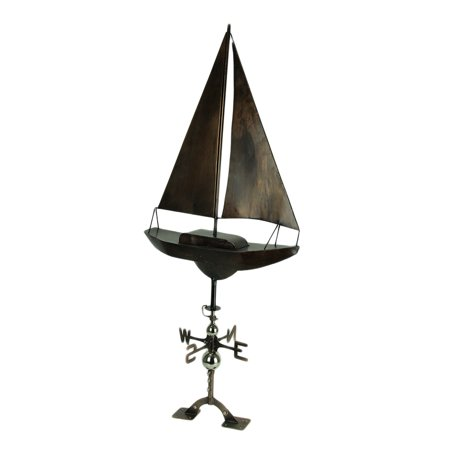Antique Copper Finish Metal Sailboat Weather Vane with Roof -