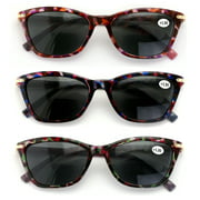 V.W.E. 3 Pairs Women Bifocal Reading Sunglasses Outdoor Reader Glasses Marble Gold Trim Bi-Focals