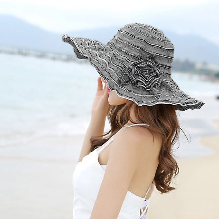 01fe38f3d89 Women's Flower Beach Hat Portable Packable Roll Up Wide Brim Sun Visor UV  Protection Floppy Crushable Straw Beach Hat Bonnet Beach Cap Sun Hat for  Women ...