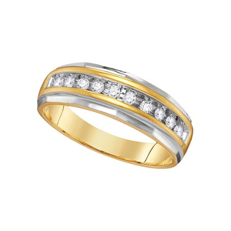 Round Grooved Base (10kt Yellow Gold Mens Round Diamond Single Row Grooved Wedding Band Ring 1/4)