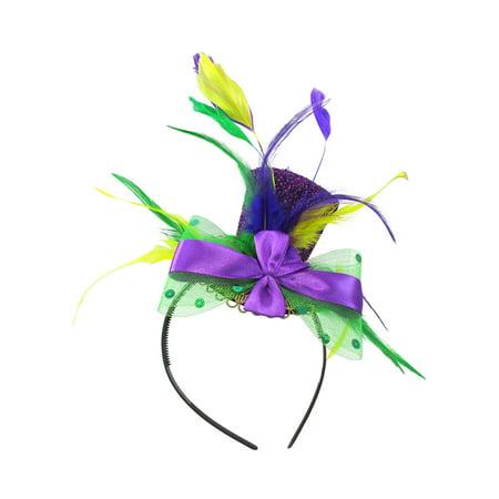 Mardi Gras Mini Top Hat Headband Green/Yellow/Purple Feathers Costume Accessory - Mardi Gras Feathers