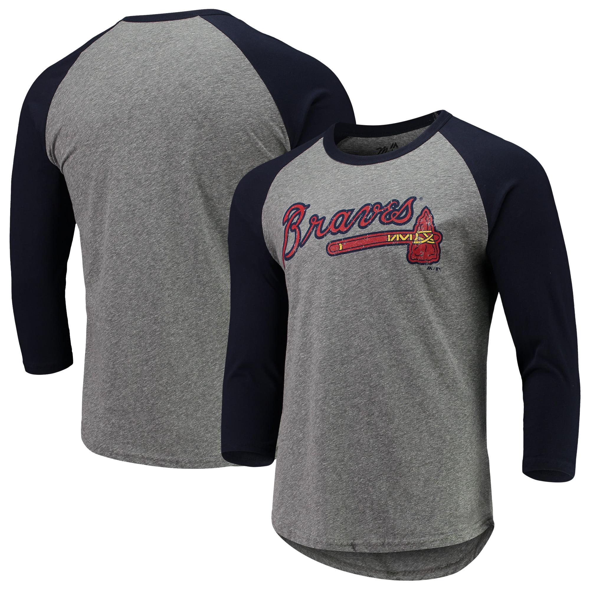 Atlanta Braves Majestic Threads Current Logo 3/4-Sleeve Raglan Tri-Blend T-Shirt - Heathered Gray/Navy