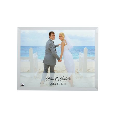 Personalized Glass Wedding Photo Frame, Available in Horizontal or -