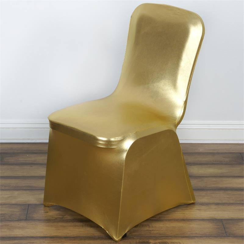BalsaCircle Gold Metallic Banquet Lame Spandex Stretchable Chair Cover Slipcover - Party Wedding Reception Home Dining Catering