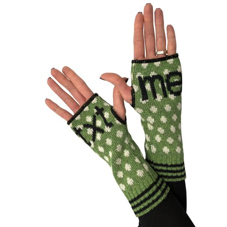 Green 3 Women's Novelty Text Me Handwarmers - Recycled Knit Fingerless Gloves (OSFA, Txt Me)](Green And Yellow Gloves)