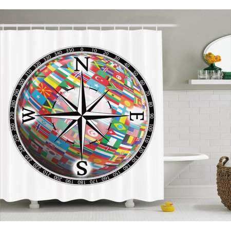 Compass Shower Curtain Flags Of The Globe Inside A And Windrose Various Nations Unity