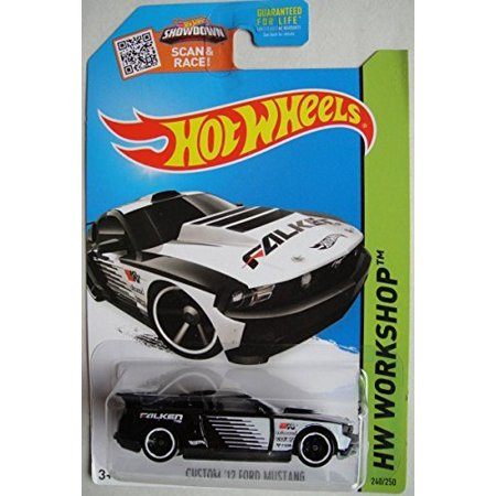 , 2015 HW Workshop, Custom '12 Ford Mustang [Black & Whte] Exclusive #240/250, HW Workshop Drift Race Collector Card 240 By Hot