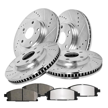 Yosoo Race Plus Brake Pads (Front & Rear Set) for Acura Integra Type-R 97-01, Drilled Slotted Rotor, Front Brake