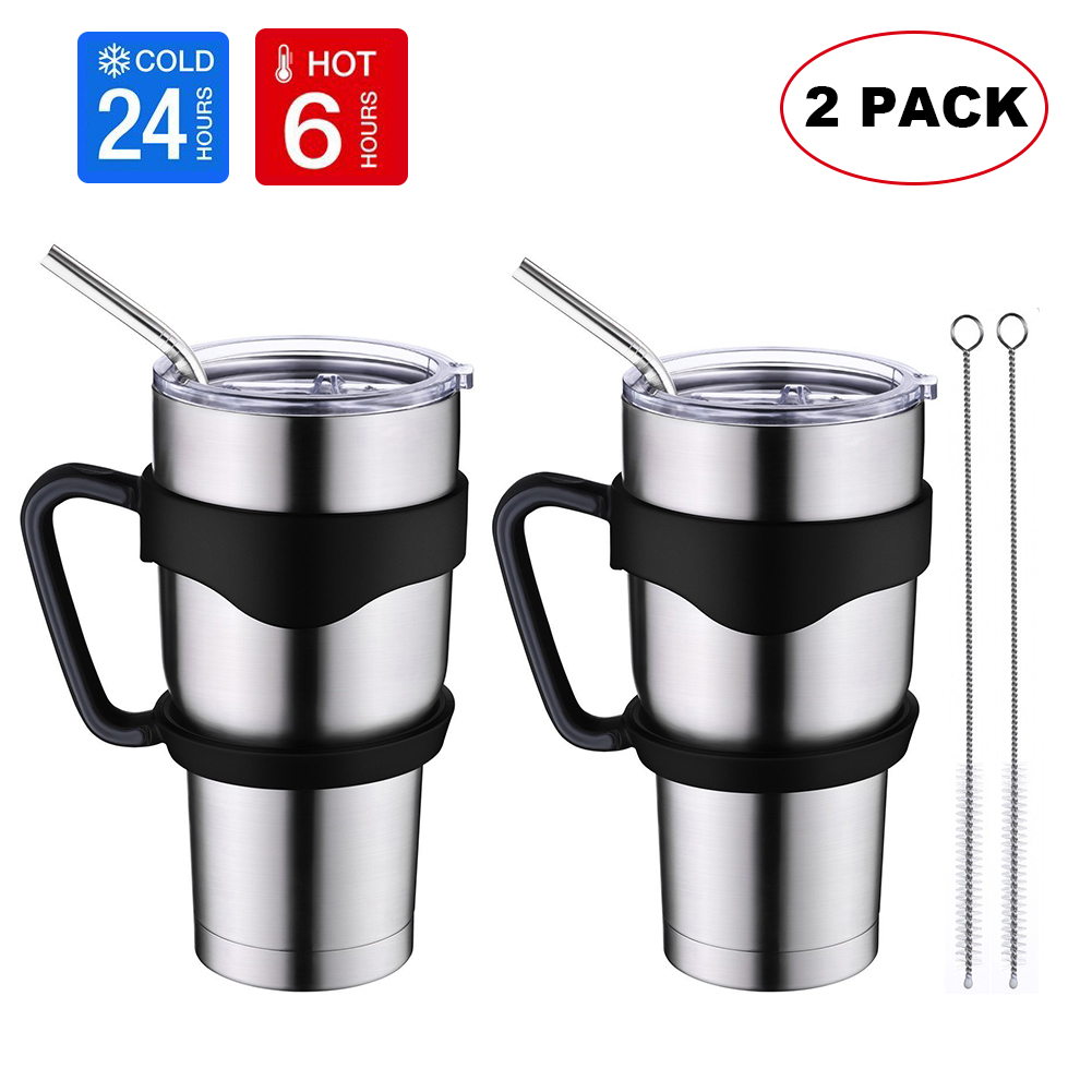 30 oz. Tumbler Double Wall Stainless Steel Vacuum Insulation Travel Mug with Lid Water Coffee Cup (Straw Included) - Works Great for Ice Drink, Hot Beverage (Pack of 2) Best Gift for Independence Day