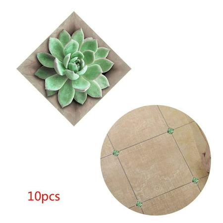 10pcs 3D Diagonal Tile Seam Stickers Film Self Adhesive Floor Wall Decorative Tiles (Adhesive Tile Stickers)