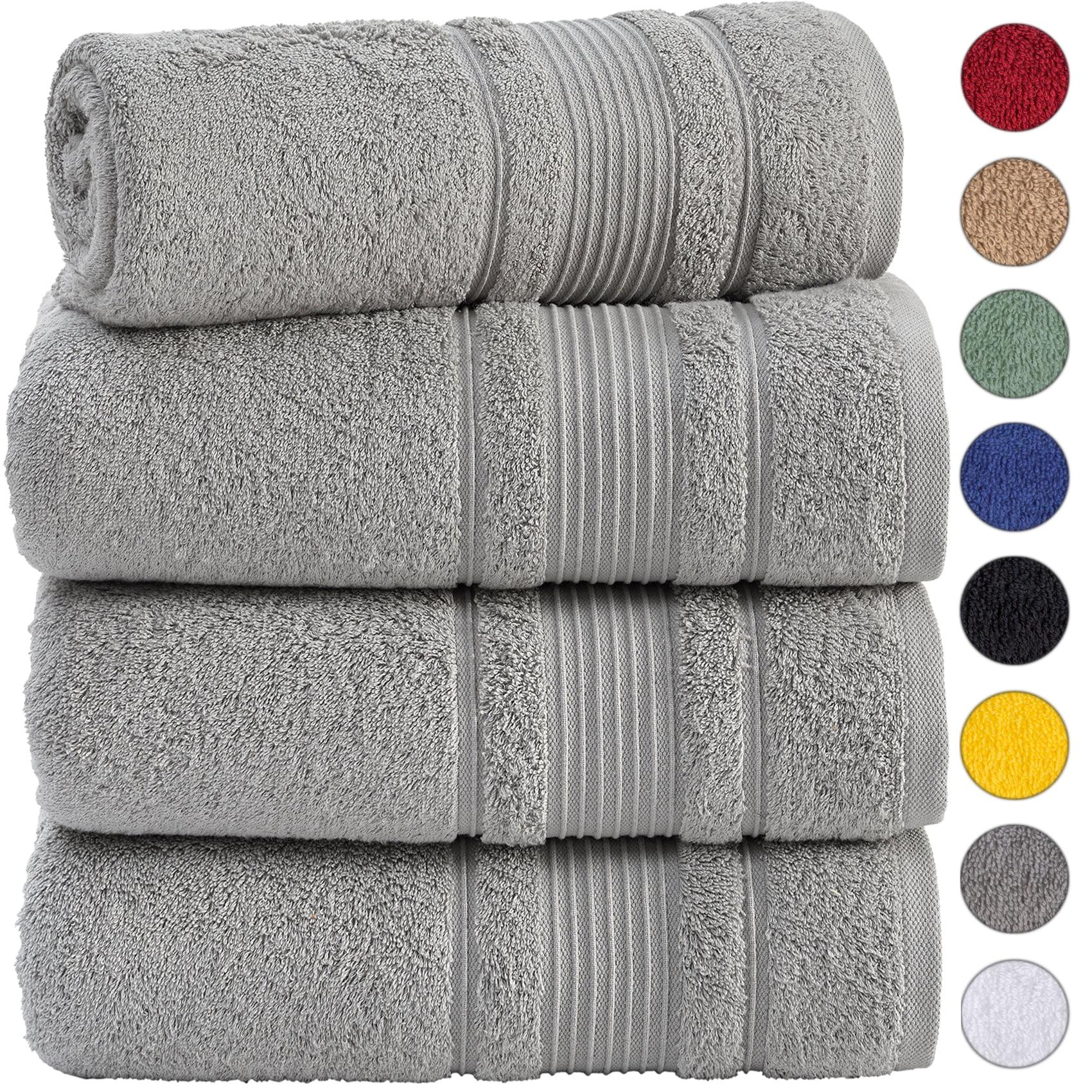 4 Piece Bath Towels Set For Bathroom Spa Hotel Quality 100 Cotton Turkish Towels Absorbent Soft And Eco Friendly Grey Walmart Com Walmart Com