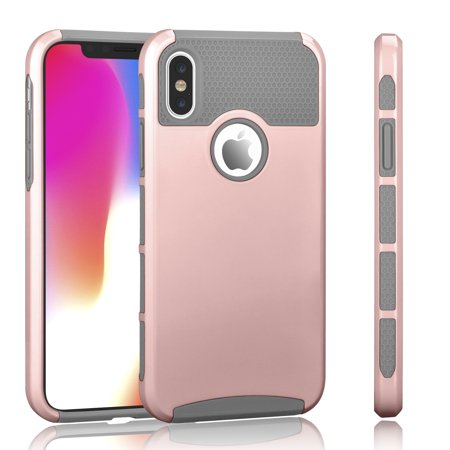 iPhone X Case, iPhone X Case For Girls, Tekcoo [TDuke] iPhone 10 Protective Cases [Rose Gold/Gray] Shock Absorbing Hard Defender Glossy Finish Cover [Scratch Proof] Plastic Shell & TPU Rubber