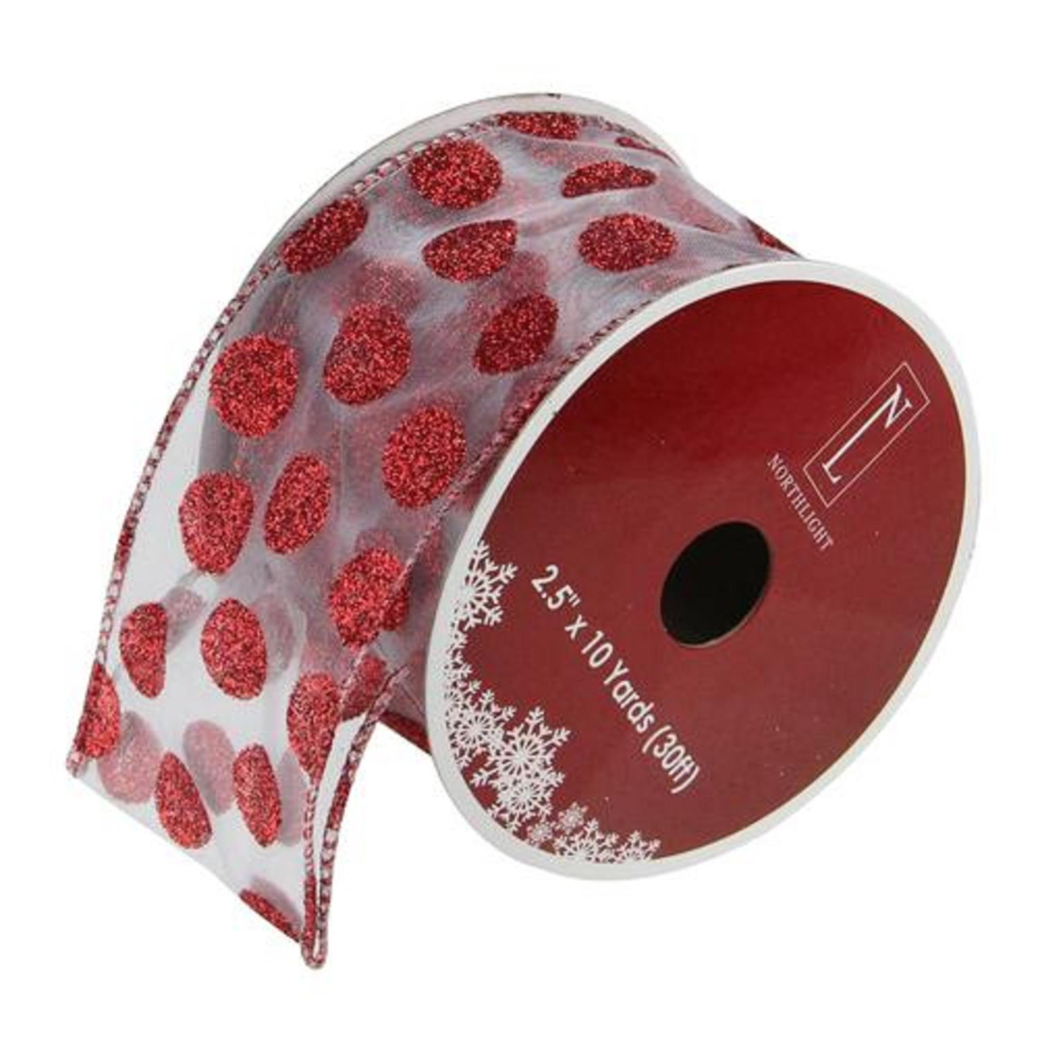 """Silver and Red Glittering Polka Dots Wired Christmas Craft Ribbon 2.5"""" x 10 Yards"""