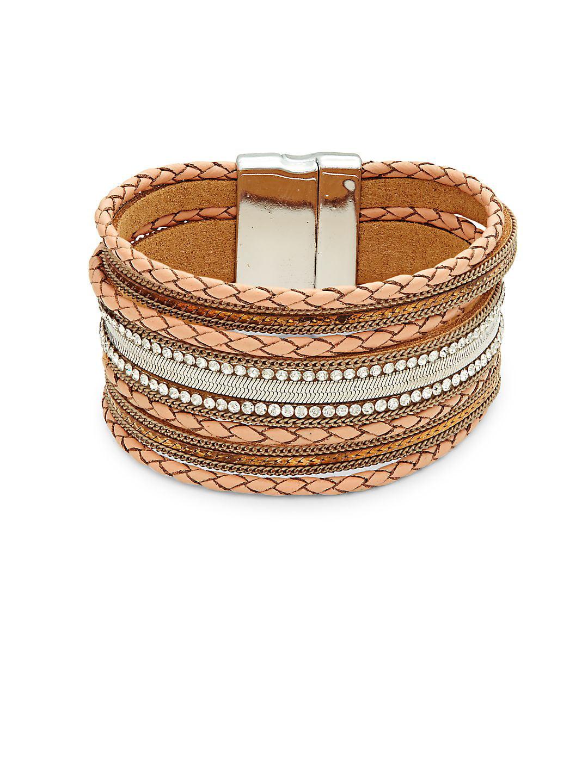 Rhinestone & Leather Braided Bracelet
