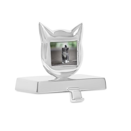 BirdRock Home Cat Photo Frame Stocking Holder - Holiday Greetings Mantle Fireplace Topper - Decorative Christmas Stocking Holder - Stainless Steel - 3