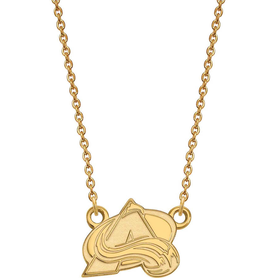 NHL Colorado Avalanche 10kt Yellow Gold Small Pendant with Necklace