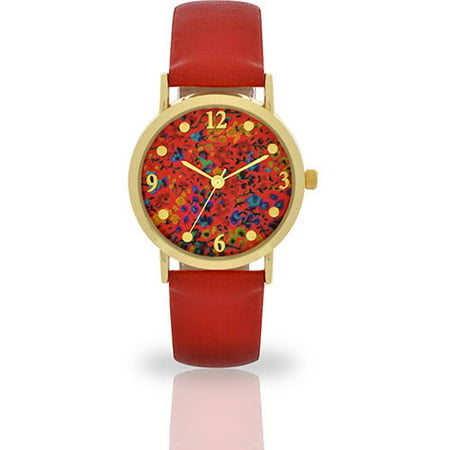 Women's Red Floral Dial Watch, Faux Leather Band ()