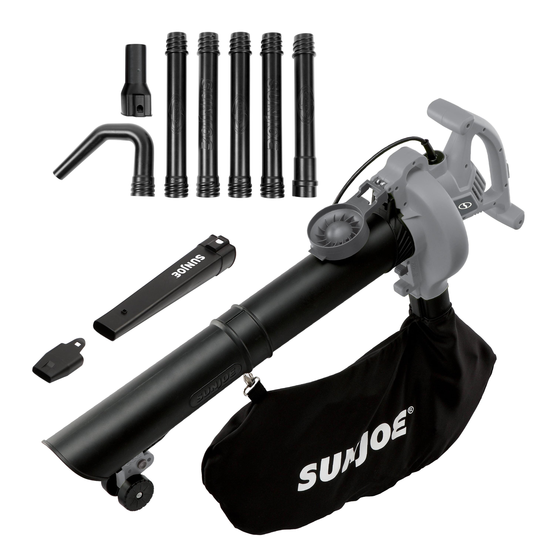 Sun Joe SBJ606E-GA-GRY 4-in-1 Electric Blower | 250 MPH · 14 Amp | Vacuum · Mulcher · Gutter Cleaner (Grey)