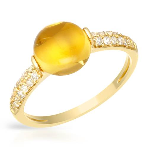 14K YELLOW GOLD 2.69CTW CITRINE AND DIAMOND RING by